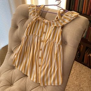 Isabel maternity yellow striped cold shoulder top